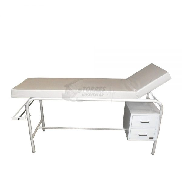 Mesa para exame clinico cabeceira regulável com 2 gavetas